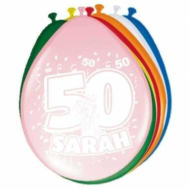 16x stuks ballonnen 50 jaar sarah 30 cm