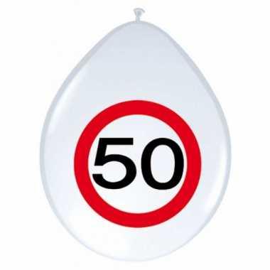 16x stuks ballonnen 50 jaar verkeersbord 30 cm
