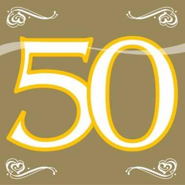20x 50 jaar leeftijd themafeest servetten goud 33 x 33 cm papier