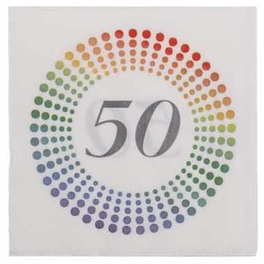 20x leeftijd 50 jaar themafeest/verjaardag servetten 33 x 33 cm confetti