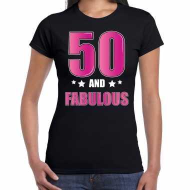 50 and fabulous / sarah verjaardag cadeau t-shirt / shirt 50 jaar zwart voor dames
