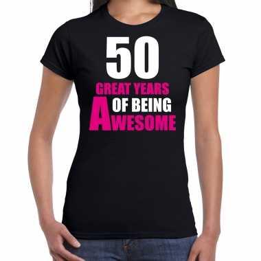 50 great years of being awesome sarah verjaardag cadeau t-shirt zwart voor dames
