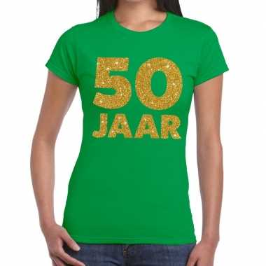50 jaar goud glitter verjaardag/jubileum kado shirt groen dames