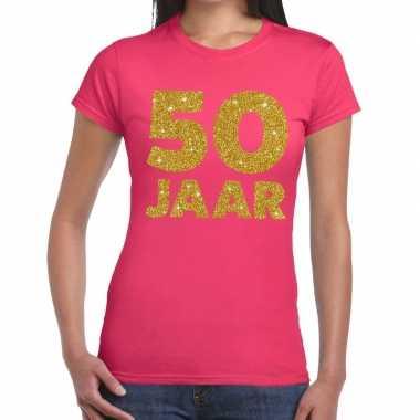 50 jaar goud glitter verjaardag/jubileum kado shirt roze dames