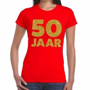 50 jaar gouden glitter verjaardag t-shirt rood dames