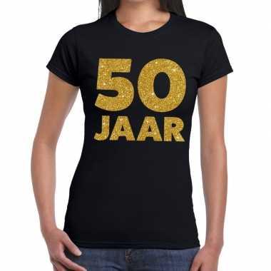 50 jaar gouden glitter verjaardag t-shirt zwart dames