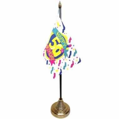 50ste verjaardag tafelvlaggetje 10 x 15 cm met standaard