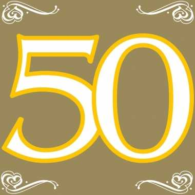 60x 50 jaar leeftijd themafeest servetten goud 33 x 33 cm papier