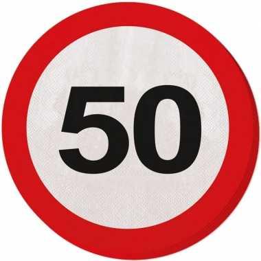 60x 50 jaar leeftijd themafeest servetten verkeersbord 33 cm ron