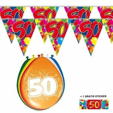 Abraham / sarah 50 jaar 2 slingers en ballonnen