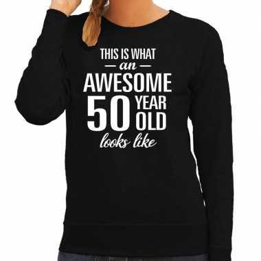 Awesome 50 year / 50 jaar cadeau sweater zwart dames