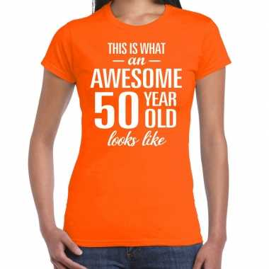 Awesome 50 year sarah cadeau t-shirt oranje dames