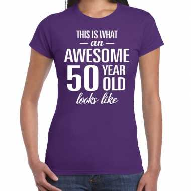 Awesome 50 year sarah cadeau t-shirt paars dames