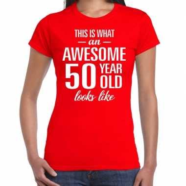 Awesome 50 year sarah cadeau t-shirt rood dames