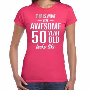 Awesome 50 year sarah cadeau t-shirt roze dames