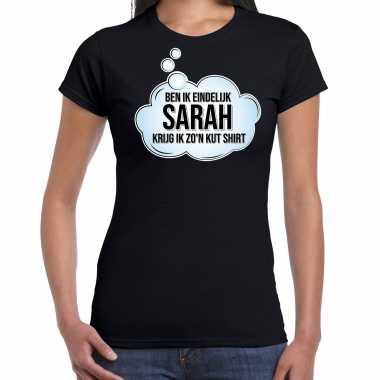 Ben ik eindelijk sarah verjaardag cadeau t-shirt / shirt zwart voor dames