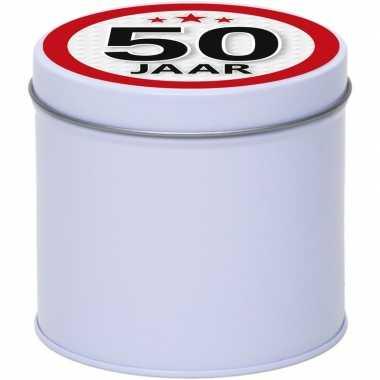 Cadeau/kado wit rond blik 50 jaar 10 cm