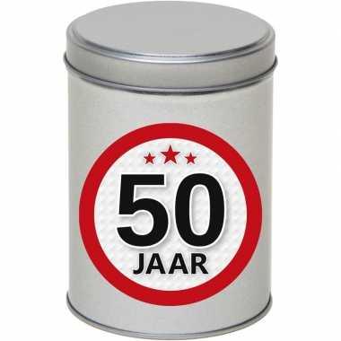 Cadeau/kado zilver rond blik 50 jaar 13 cm