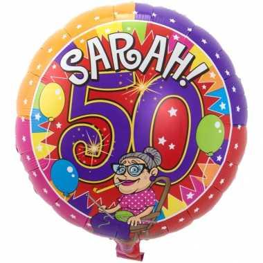 Folie ballon sarah 50 jaar verjaardag 43 cm met helium gevuld
