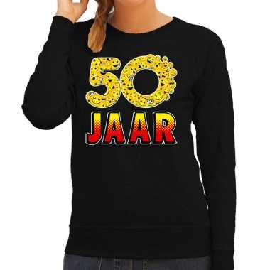 Funny emoticon sweater 50 jaar zwart dames