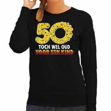 Funny emoticon sweater 50 wel oud voor een kind zwart dames