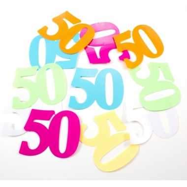 Gekleurde mega confetti 50 jaar 24 stuks