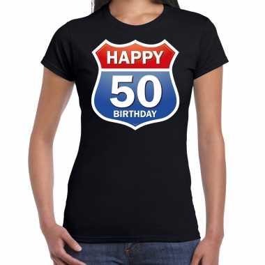Happy birthday 50 jaar / sarah verjaardag t-shirt route bordje zwart voor dames