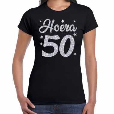 Hoera 50 jaar verjaardag cadeau t-shirt zilver glitter op zwart dames