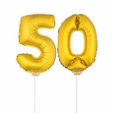 Opblaas cijfer 50 folie ballon 41 cm