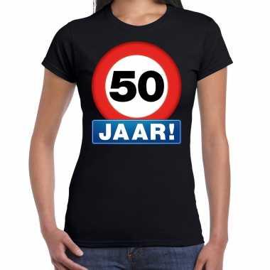 Stopbord 50 jaar sarah verjaardag t-shirt zwart voor dames