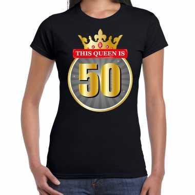 This queen is 50 verjaardag t-shirt zwart 50 jaar voor dames