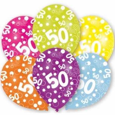 Verjaardag versiering leeftijd ballonnen 50 jaar 6 stuks