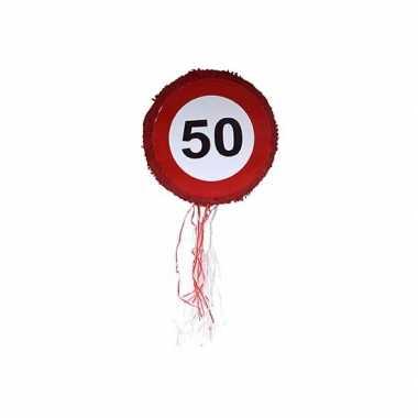 Verkeersbord pinata 50 kilometer