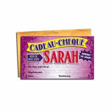 Voor de sarah cadeau cheque