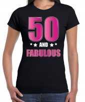 50 and fabulous sarah verjaardag cadeau t-shirt shirt 50 jaar zwart voor dames