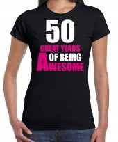 50 great years of being awesome sarah verjaardag cadeau t shirt zwart voor dames
