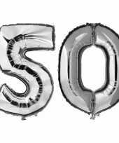 50 jaar zilveren folie ballonnen 88 cm leeftijd cijfer