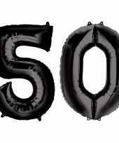 50 jaar zwarte folie ballonnen 88 cm leeftijd cijfer