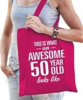 Awesome 50 year geweldig 50 jaar cadeau tas roze voor dames