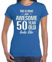 Awesome 50 year sarah cadeau t shirt blauw dames