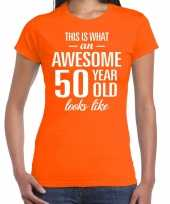Awesome 50 year sarah cadeau t shirt oranje dames