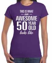Awesome 50 year sarah cadeau t shirt paars dames