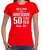 Awesome 50 year sarah cadeau t shirt rood dames