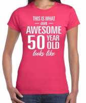 Awesome 50 year sarah cadeau t shirt roze dames