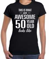 Awesome 50 year sarah cadeau t shirt zwart dames