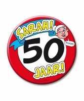 Broche hoera 50 jaar sarah 10 cm