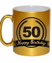 Happy birthday 50 years gouden cadeau mok beker met wimpel 330 ml