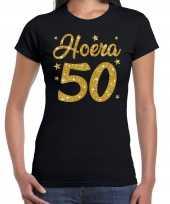 Hoera 50 jaar verjaardag cadeau t-shirt goud glitter op zwart dames