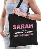 Naam cadeau tas sarah the supergirl zwart voor dames