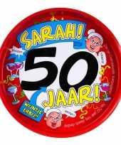 Sarah verjaardag 50 jaar dienblad 30 cm
